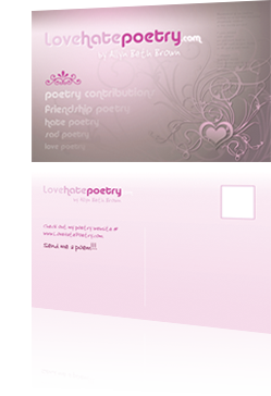 Love Hate Poetry Postcard Design